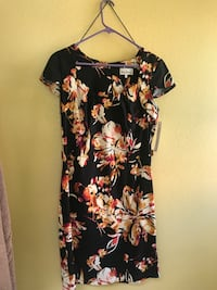 Women's black and beige floral short sleeve dress Fontana, 92337