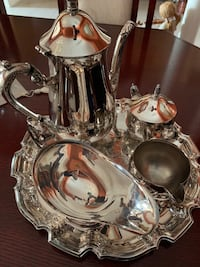 Silver Tea Set With Butter Plate