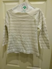 women's white and gray pinstriped long sleeve top