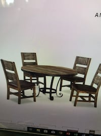 Round brown wooden table with four chairs dining set Mesa, 85206