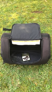 Motorcycle accessory bag. Over the back rest bag for packing for a road trip. Harley Davidson by SAC. Sells New for 100.00 plus 647 mi