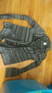 Grey striped long sleeve knit cardigan Montreal, H8T