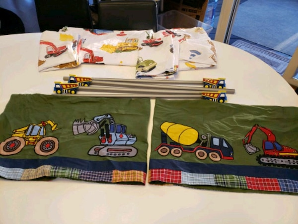 Boy Truck Thwme Window Treatments (2) & Bedding 1ba7a39e-dbb0-4591-a3ba-bb9474040c52