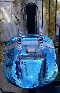 Authentic Coach Spotlight Blue Sequin Shoulder Bag Handbag Tote Purse.