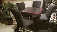 4 Black Fabric Dining Chairs & Table