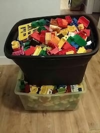 assorted building blocks in boxes