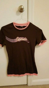 Pink and brown crew neck shirt