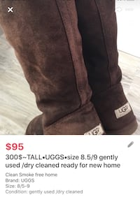 300$~TALL•UGGS•size 8.5/9 gently used /dry cleaned ready for new home London, N5W 6E3
