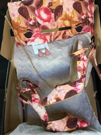 ALL BRAND NEW PIECES (3 matching pieces) Size 9 shoes, clutch/purse wth gold chain strap, natural stone earrings Edmonton, T5A 3L6