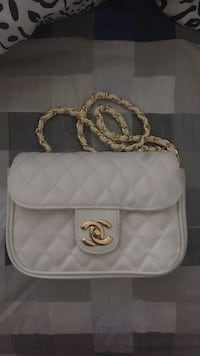 white Chanel leather crossbody bag
