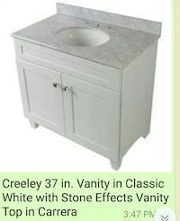 Creeley 37 in. vanity in classic white with stone effects vanity top in carrera screenshot Belleville, 07109