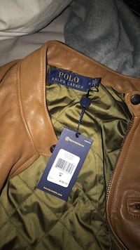 brown leather zip-up jacket Surrey, V3T 5A8