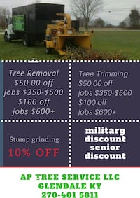 tree removal and tree trimming service advertisement poster Glendale, 42740