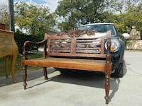 brown wooden bench seat