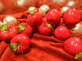 Vintage home decor holiday Christmas tree ornaments, glossy RED delicious apples
