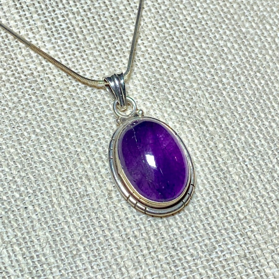 Genuine Sterling Silver Amethyst Pendant with Sterling Rope Chain