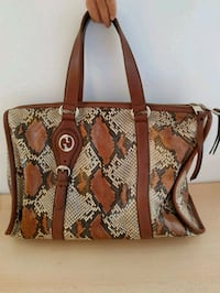 tote bag in pelle marrone e bianca Lido, 30126