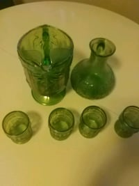 four green glass 2 jugs 4 glass set italy set vint