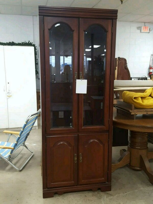 2pc Cherry Wood Display Cabinets