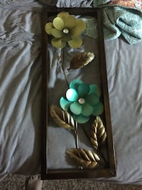 green and teal flower wall decor with brown frame 1139 mi