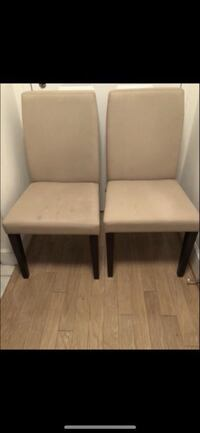 2 DINING CHAIRS BEIGE FABRIC WOODEN $30 per EACH Washington, 20008