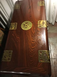 Wooden Asian-Inspired Cedar Chest w/ Brass Fish Lock Los Angeles