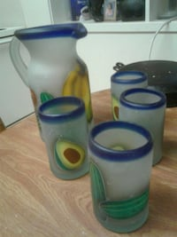 Pitcher and Four Glasses (hand blown glass.)2 pics