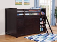 NEW Danville Solid Wood Bunk Bed With Dresser And Bookshelf  Miami