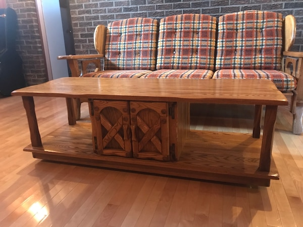 5 Piece Vintage Retro Living Room Couch and Tables Set