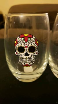 2 Halloween Day of the Dead stemless wine glasses Woodbridge Township, 08863