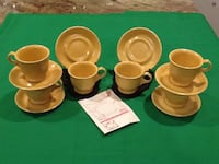 Vintage new old stock restaurant 6 mancioli cups and saucers made Tuscan square yellow Italy West Islip, 11795