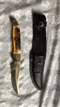 Hand Made Wild Turkey. Bone Handled Fixed Blade Knife Wyandotte, 48192