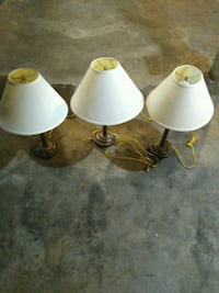 three white table lamps