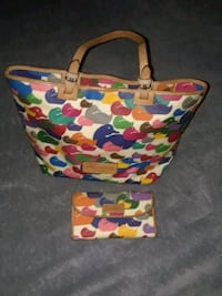 white, blue, and yellow floral tote bag Burleson