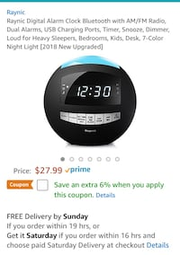 Digital Alarm Clock Bluetooth with AM/FM Radio, Dual Alarms, USB Charging Ports, Burke, 22015