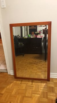 rectangular brown wooden framed mirror Laval, H7W 3V9