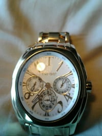 round silver-colored Trump chronograph watch with link bracelet Merced, 95348
