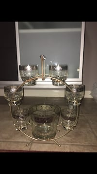 Antique bar ice bucket and cocktail glasses St Charles