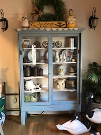 Country farmhouse glass storage cabinet