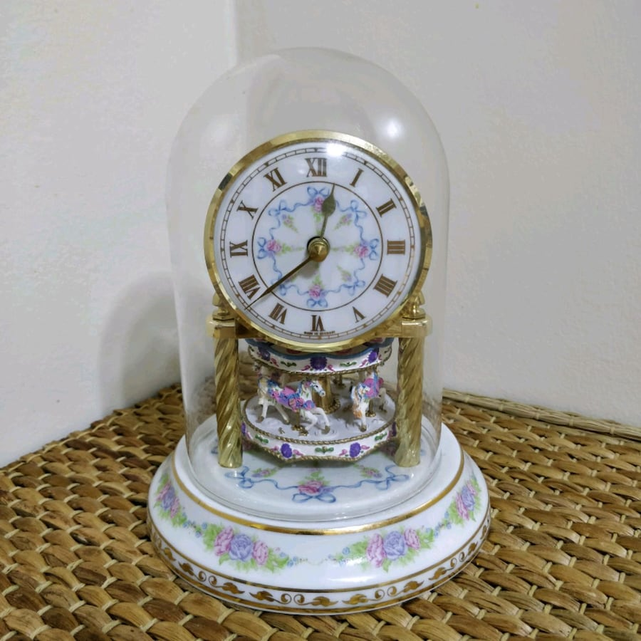 German Vintage Merry Go Round Carousel Dome clock