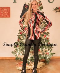 women's black and multicolored long-sleeved shirt and black pants