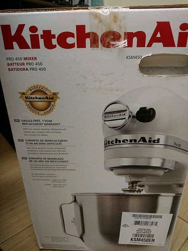 Used KitchenAid tilt-head stand mixer box for sale in
