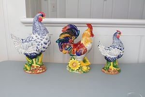 Ceramic Set- Vietri- Sadek Rooster & Chicken