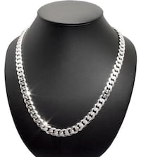 "20"" Necklace Sterling Silver Men's Cuban Curb Chain Pure 925 Italy New  Нью-Йорк, 11235"