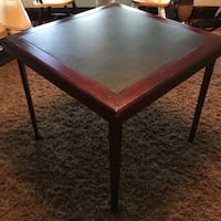 Wooden Card Table with Leather Top