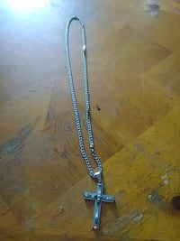 silver chain link necklace with cross pendant Bartow, 33830