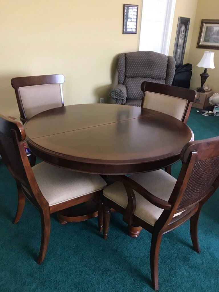 used round brown wooden table with four chairs dining set for sale rh tr letgo com