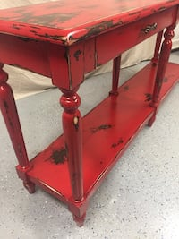 Custom painted & distressed red console/sofa table