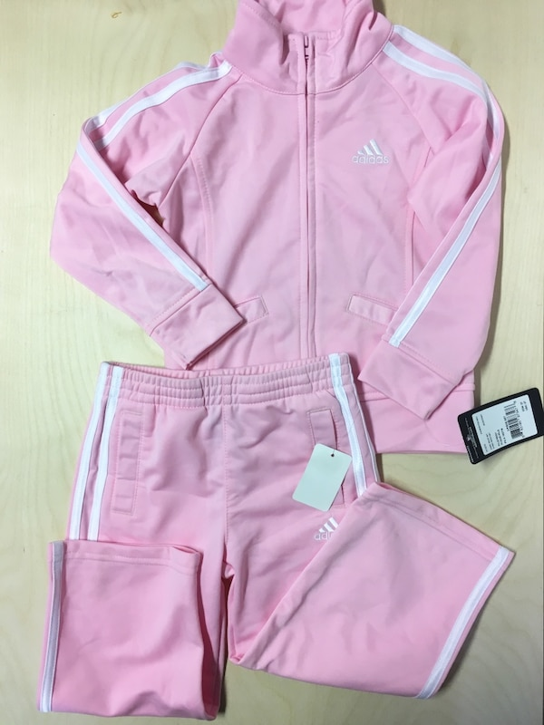 ADIDAS KIDS CHILDRENS TRACK SUIT PINK SIZE TODDLER 3 YEARS SWEATER PANTS HOODIE