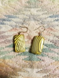 pair of yellow w/black hook earrings